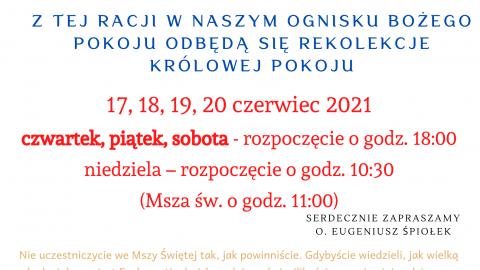 OBP w Suchcicach zaprasza na Rekolekcje Królowej Pokoju